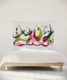 tenture-chambre-S-lit-140-vert-rouge-leontine-soulier-ornement-floral