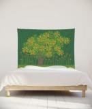 tenture-chambre-S-lit-140-vert-fonce-jennifer-yerkes-fleurs-d-indes-fleurs-d-inde