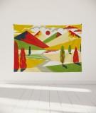 drapé-M-lit-160-jaune-rouge-laurent-moreau-montagnes