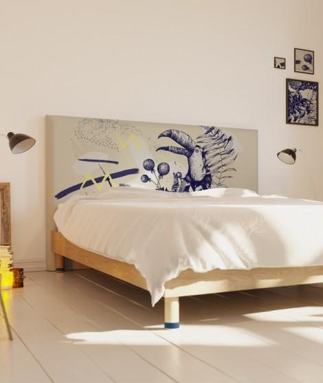 Tête de lit 160 cm Bleu Blanc Missy Toucan