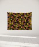 tenture-murale-S-lit-140-noir-rouge-jaune-marion-hamaide-flamant
