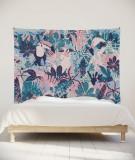 tenture-murale-L-lit-180-rose-vert-bleu-morgane-bezou-faune