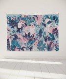 tapisserie-murale-L-lit-180-rose-vert-bleu-morgane-bezou-faune