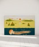 Tête de lit 180 cm Jaune Nikol Jellyfish and sunset