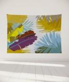 tapisserie-murale-L-lit-180-jaune-marron-coco-hellein-bananier