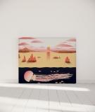Tête de lit 140 cm Orange Nikol Jellyfish and sunset