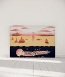 Tête de lit 160 cm Orange Nikol Jellyfish and sunset