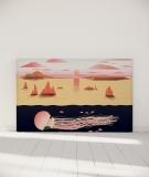 Tête de lit 180 cm Orange Nikol Jellyfish and sunset