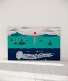 Tête de lit 180 cm Turquoise Nikol Jellyfish and sunset