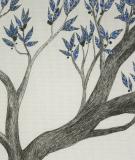 Tête de lit Bleu Blanc Axelle Grosperrin Arbre bleu