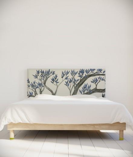 Tête de lit 160 cm Bleu Blanc Axelle Grosperrin Arbre bleu