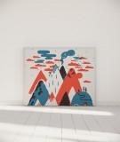 Tête de lit 140 cm Bleu Rouge Laurent Moreau Volcan
