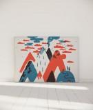 Tête de lit 160 cm Bleu Rouge Laurent Moreau Volcan