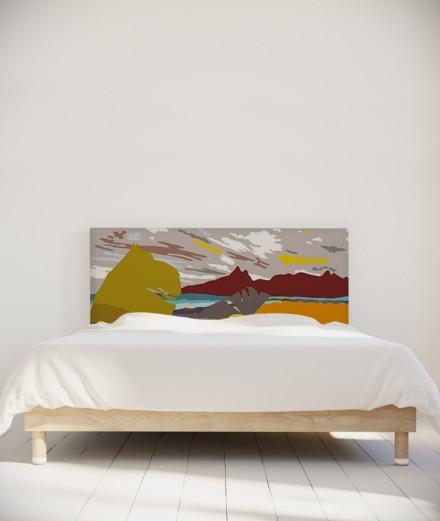 Tête de lit 160 cm Jaune Orange Coco Hellein Nitero