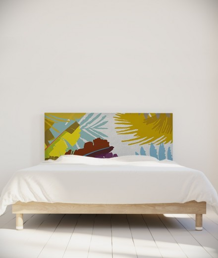 Tête de lit 160 cm Jaune Bleu Coco Hellein Bananier