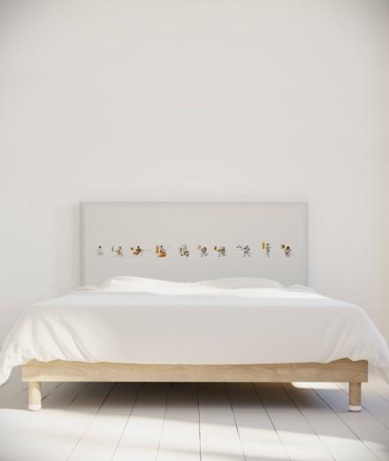 Tête de lit 160 cm Blanc Jaune Bastien Massot Samouraï